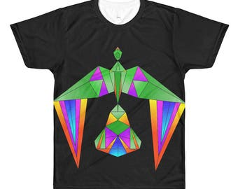 Retro Bird T-Shirt, apparel, clothing, gift idea, geometric, original design, colorful, rainbow,
