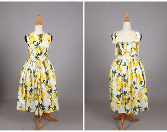 "Madeline Dress ""Freshly Squeezed"" Retro Lemon Fruit Print Yellow Lemons"