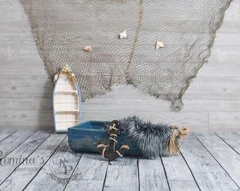 Digital Prop/Newborn Prop/Nautical/Blue Boat prop/beach/ Boat/ Digital backdrop/digital download