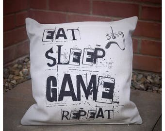 Gamer xbox ps4 Cushion - Pillow - Eat Sleep Game Repeat
