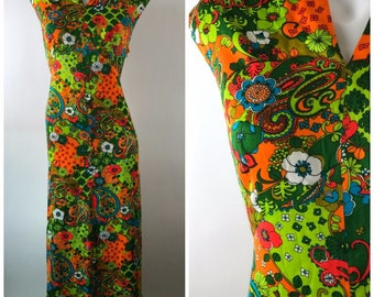 Vintage 70s Neon Paisely Floral Dress Abstract Maxi Split Neck Sleeveless Acrylic