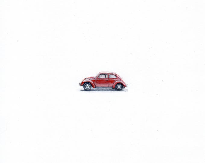 "Print of miniature painting of  Vintage VW Bug 1 1/4 x 1 1/4"" print of original VW Bug painting on 5"" square german etching paper"