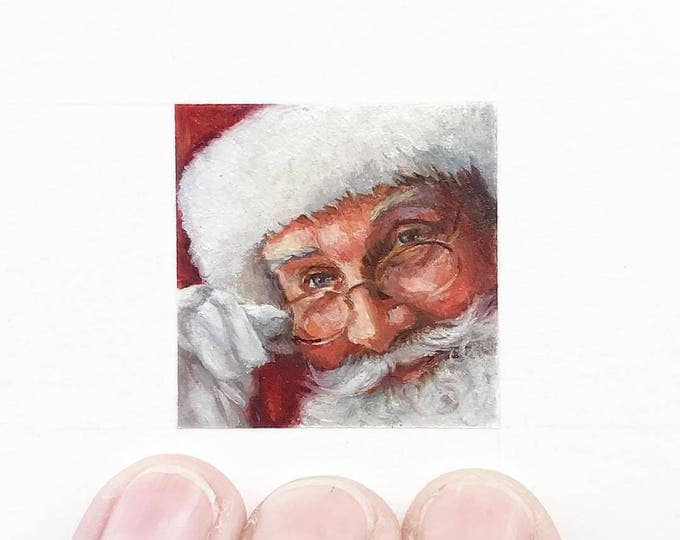 Original Santa painting, miniature painting of santa face with glasses.