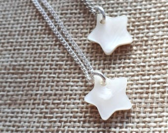 Star necklace mother of Pearl lucky charm or star lover