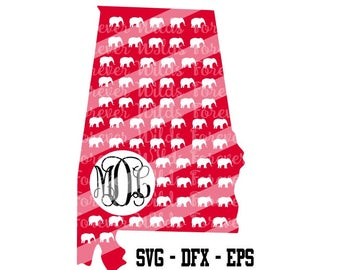 Alabama Monogram svg - dfx File - Roll Tide monogram - Alabama state svg - go bama svg INSTANT DOWNLOAD