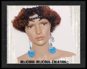 Original earrings! FANFAN! Blue leatherette T: 12.5 cm long
