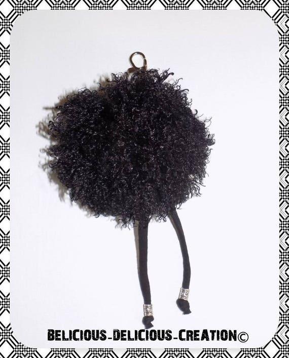 Original key ring / jewelry bag! SHAGGY! fabric, black long 20cm