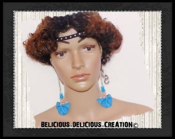 Original Boucles d'oreilles !! FANFAN !! en simili cuir bleu T: 12.5cm long