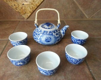 Vintage Porcelain Tea Set, Chinese / Japanese Asian Style Blue and White Flower Teapot, 5 Teacups and 2 Tall, Excellent Condition