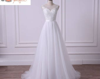 Summer Bohemian Beach A line Low Sheer Back Lace Tulle Wedding Dress.