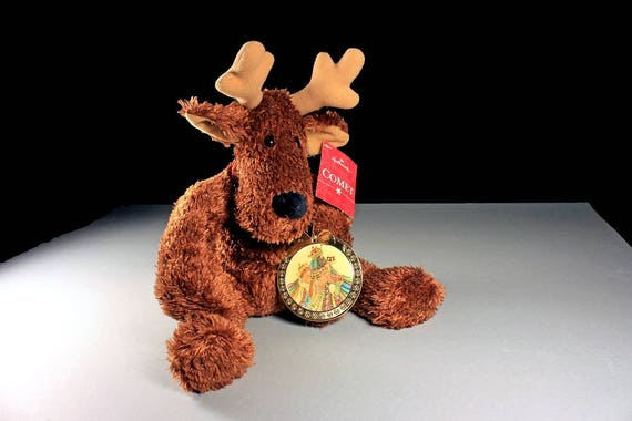 Stuffed Reindeer Animal, Comet, Hallmark, Soft, Gold Sparkles, New With Tags, Christmas, Holiday Plushie, Retired