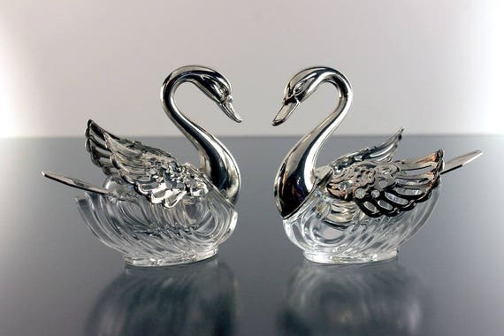 Swan Salt Cellars, Silver Plate and Crystal, Original Spoons Included, Filigree Wings, Hinged Wings, Made In Italy,  Set of two