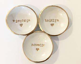 Bridesmaid Gift, Bridesmaid set of 3, Ring Dish Set, Custom Name, Ring Holder, Personalized Dish, Jewlery Holder