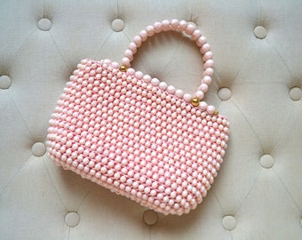 1960s Pink Beaded Handbag Made in Italy