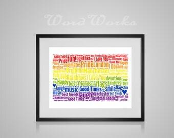 Gay Pride Rainbow Flag Personalised Word Art