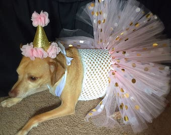 birthday dog outfit, dog birthday, pink and gold dog dress, dog birthday outfit, cute dog dress