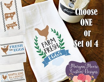 Rustic Vintage Farm Themed, Chicken Cow and Pig, Fresh Eggs Milk Bacon Kitchen Flour Sack Towel Tea Towel