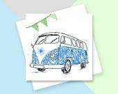 Blue camper van greetings card