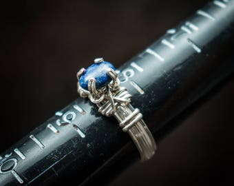 Sterling Silver with lapis lazuli cabochon solitaire ring size 8.25 Also in stock in 14K gf in size 4.5.