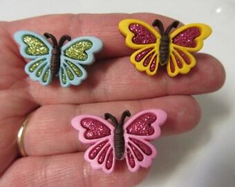 FREE SHIPPING! Blue, Pink, or Yellow Glitter Butterfly Stud Earrings-Spring Earrings-Summer Earrings