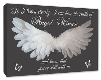 Angel wings, If I Listen closely, I can Hear the Rustle of Angel Wings - Grey Wall Canvas A1/A2/A3/A4
