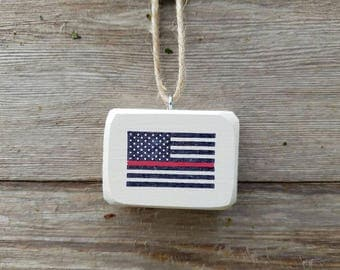Thin red line firefighter flag ornament / mini sign