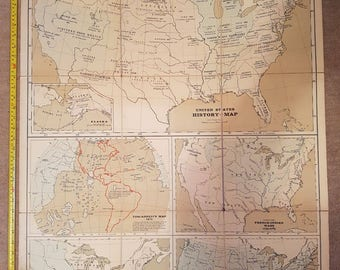 Vintage Bacon's Excelsior United States (Historical) school/wall map