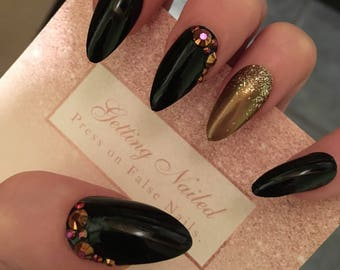 Black false nails, bronze fake nails, false nail set, gold jewelled nails, press on nails,