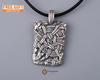 Viking Pendant Mammen Style Viking Jewelry Sterling Silver 001-204