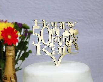Birthday Cake Topper Decoration - Personalise with ANY age and NAME 1st 18th 21st 30th 40th 50th 60th 70th 80th 90th 100th,Choice of Colours