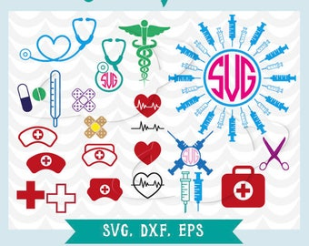 Nurse svg, nurse dxf, nurse eps, medical svg, doctor svg, stethoscope svg, syringe svg, stencil, nurse transfer, clip art, electrocardiogram