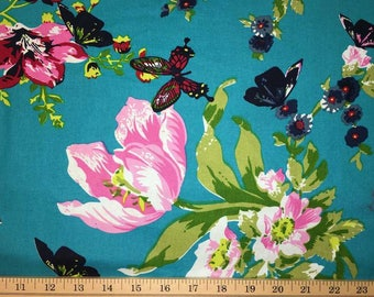 Butterfly Floral Fabric Butterflies and Flowers Bold Flowers Red & Teal Cotton Apparel Fabric By the Yard Half Yard a4/23
