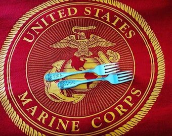 Semper Fidelis, Always Faithful, Wedding Forks, Hand Stamped, USMC Wedding