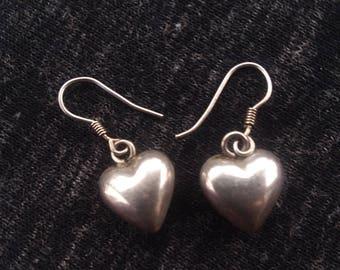 Sterling silver small Heart earrings dangle