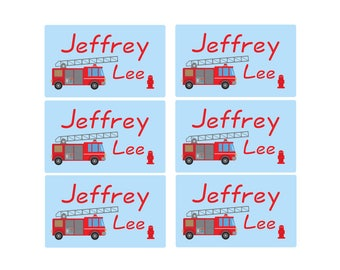 95ct Stick On Clothing Name Labels, Clothing Labels, Personalized Uniform Name Labels, Baby Clothing Fire Truck, Washable Clothing Labels
