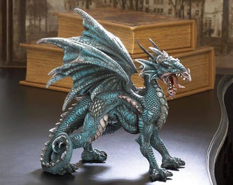 Fantastical Fierce Mythical Dragon Statue with Wings Spread