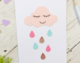 Handmade new baby card ~ New baby girl pink nursery cloud card ~ Baby girl card with rain cloud ~ Congratulations card for new arrival