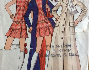 Butterick 5727 juniors misses maxi coat, top and skirt size 7 bust 31 vintage 1970's sewing pattern