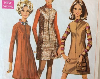 Simplicity 7758 misses dress or jumper size 12 bust 34 vintage 1960's sewing pattern