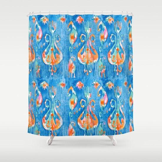 blue ikat shower curtain blue orange tribal bathroom decor. Black Bedroom Furniture Sets. Home Design Ideas