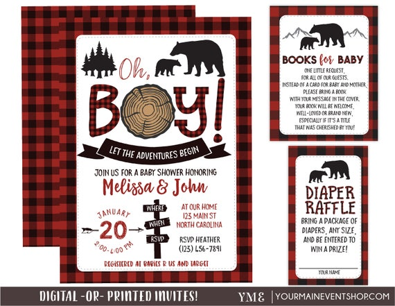 Lumberjack Baby Shower Invitation, Bear Woodland Baby Shower Invitation, Rustic Mama Bear Baby Sprinkle, Diaper Raffle, Book Request Card