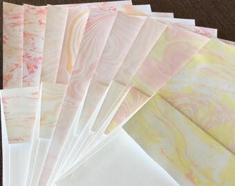 17pc Pink, Orange, and Yellow Suminagashi Water Marbled Stationery Gift Set