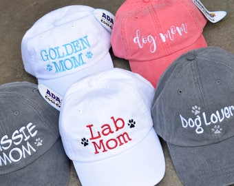 Lab Mom Dog Lover Baseball Cap || Any Breed Embroidered with Paw Prints || Dog Mom Monogram Gift by Three Spoiled Dogs Made in USA