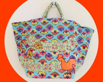 Embroidered Chicken Market Tote-Bag.