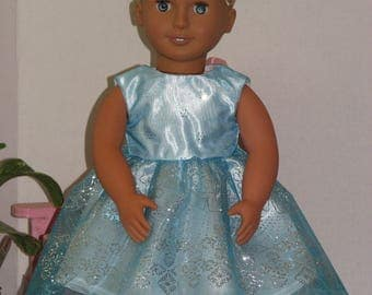 "Glittering Teal Blue Party / Formal Dress for 18"" Dolls. Made in USAfits American Girl, Our Generation Dolls"