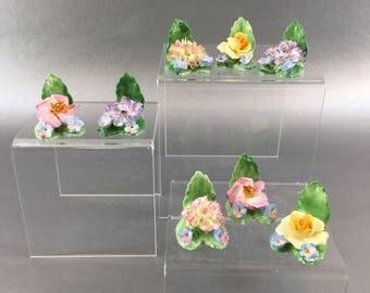 1 of 8 Porcelain Miniature Flowers by Coalport England Bone China vintage