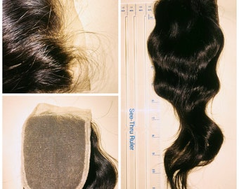 Customized 4X4 Lace Brazilian Closure with Baby Hair and Bleached Knots, 100% Human Hair, 12 Inches