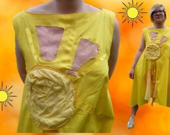 Large yellow Sun dress sleeveless satin cotton spring/summer