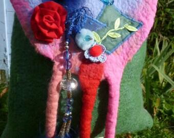 pink green tones hand felted Merino Wool shoulder bag
