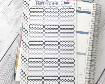S-472 || SKINNY SCALLOP - White Label for Planner - NEUTRAL (54 Removable Matte Stickers)